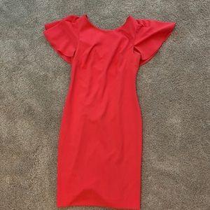 Calvin Klein Caped Sheath Dress flutter sleeves